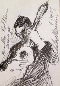 Sketch of Bradley playing at Carnegie Hall by LeRoy Neiman